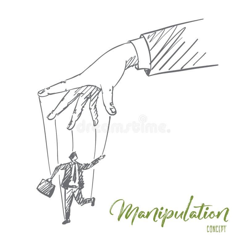 Hand dragen mänsklig arm som spelar med mannen som dockan vektor illustrationer