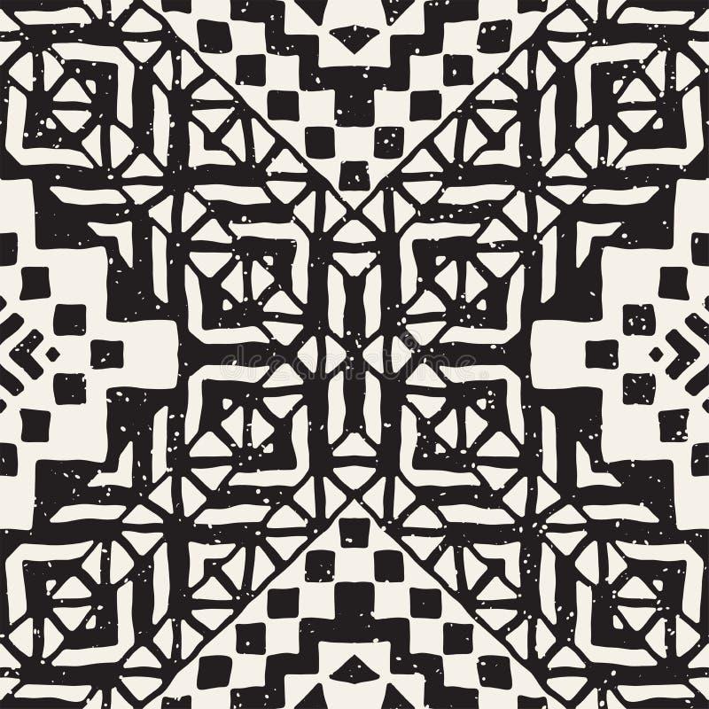Hand dragen målad sömlös modell Stam- designbakgrund för vektor Etniskt motiv Geometriska etniska bandlinjer royaltyfri illustrationer