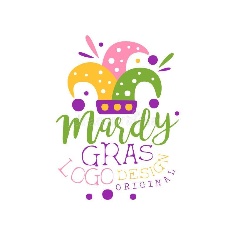 Hand dragen mall för Mardi Gras ferielogo med det färgrika locket och bokstäver för dumbom s Feta tisdag karneval Plan vektor royaltyfri illustrationer