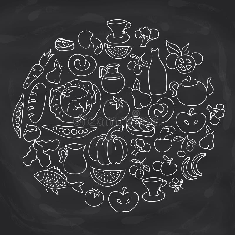 Hand dragen matcirkeletikett Vektorn skissar samlingen för symbolen för foods för teckningen för kritabrädet vektor illustrationer