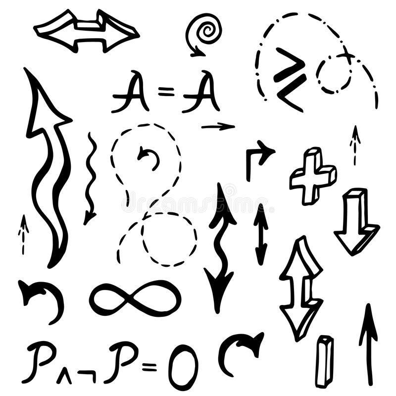 Hand dragen matematisk beståndsdelvektorillustration vektor illustrationer