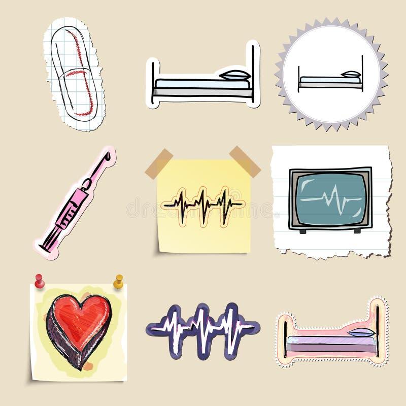 Hand dragen medicinsk emblemuppsättning isolerat royaltyfri illustrationer