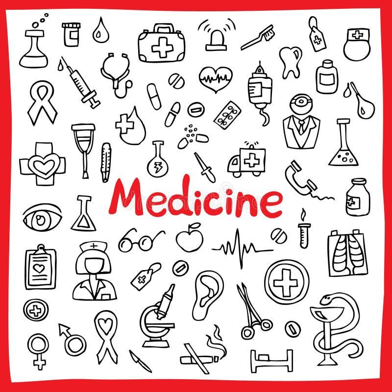 Hand dragen medicinsk symbolsuppsättning också vektor för coreldrawillustration (Hjälpmedel, organ, symboler) royaltyfri illustrationer