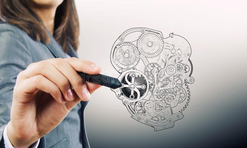 Hand dragen mekanisk hjärta fotografering för bildbyråer