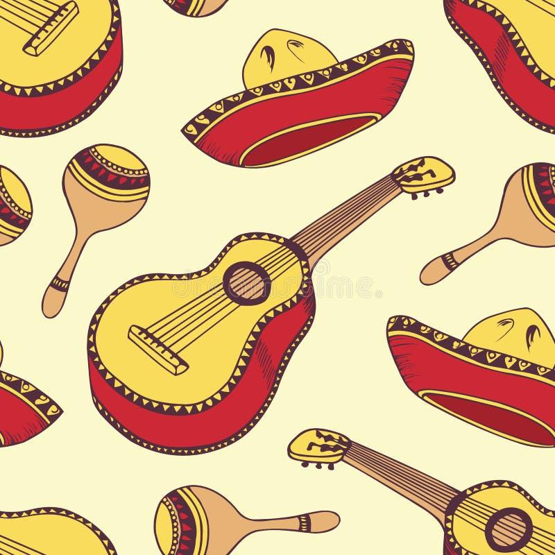 Hand dragen mexikansk sömlös modell i vektor stock illustrationer