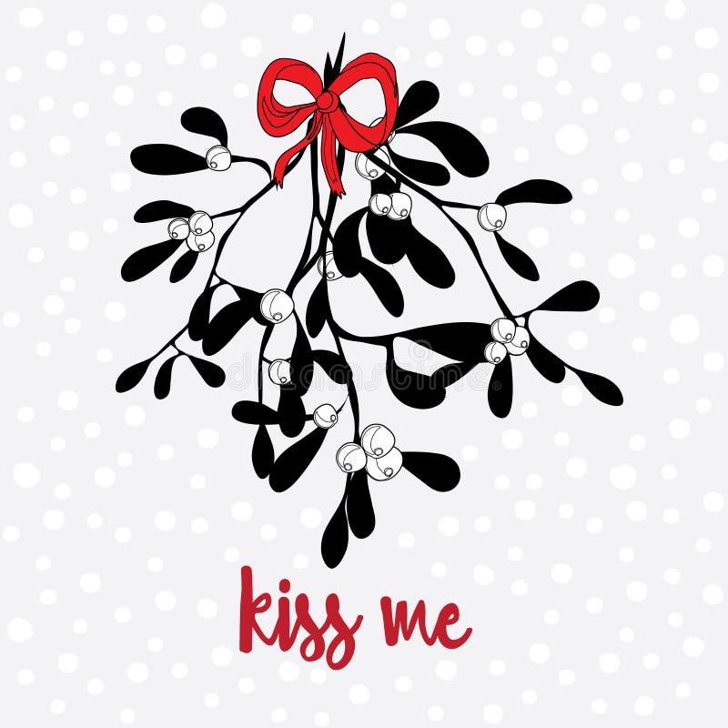 Hand dragen mistel med en röd pilbåge Ljus bakgrund med små snöflingor Kyssa mig citationstecknet royaltyfri illustrationer