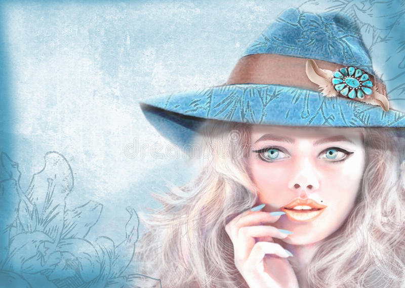 Hand dragen modeflicka Bohemisk bohostil för amerikansk hippie royaltyfri illustrationer
