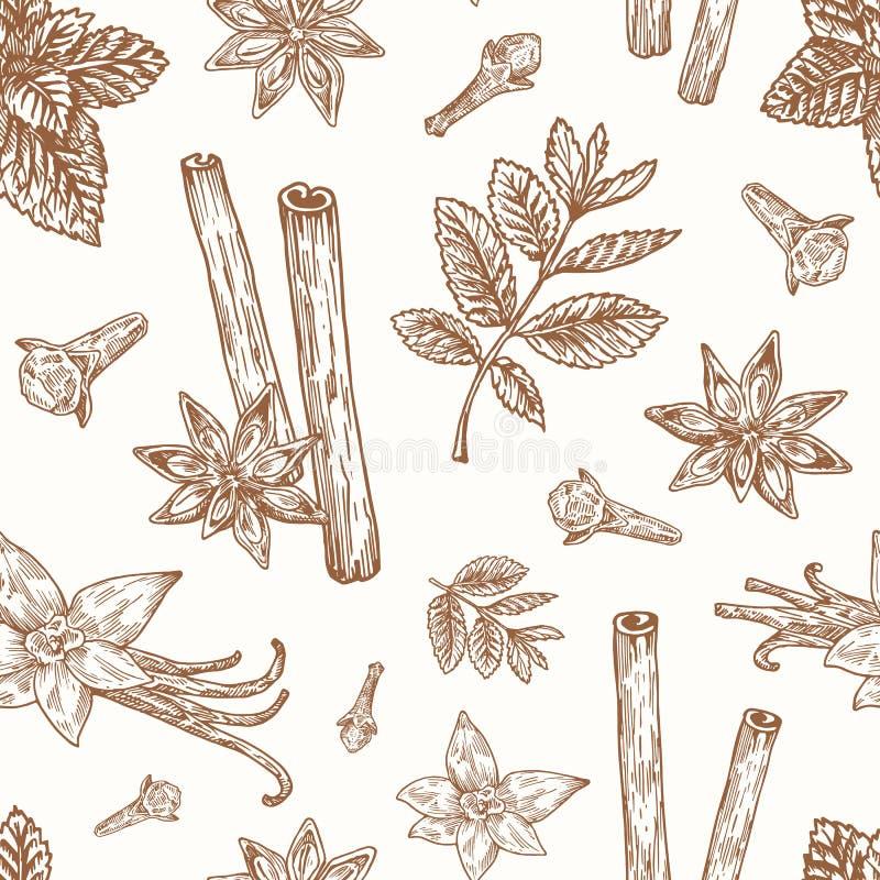 Hand dragen modell för bakgrund för anis-, mintkaramell-, kanel-, kryddnejlika- och vaniljvektor sömlös Kryddor skissar kortet el royaltyfri illustrationer