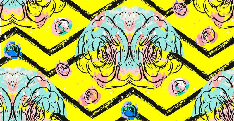 Hand dragen modell för collage för vektor abstrakt begrepp texturerad sömlös med suckulentväxter, sommarbär och frihandstextur vektor illustrationer