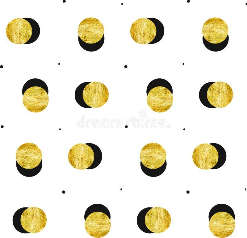 Hand dragen modell för guld- fullmåne för vektorabstrakt begrepp sömlös och svart pricktextur som isoleras på vit bakgrund vektor illustrationer