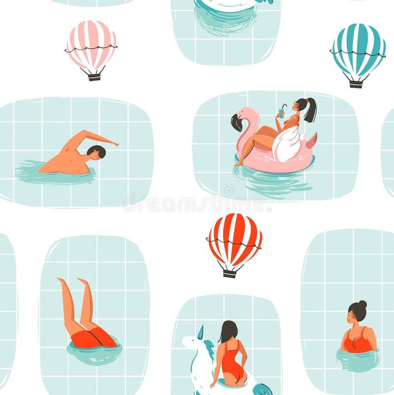 Hand dragen modell för rolig illustration för tid för sommar för vektorabstrakt begrepptecknad film sömlös med simningfolk i simb royaltyfri illustrationer