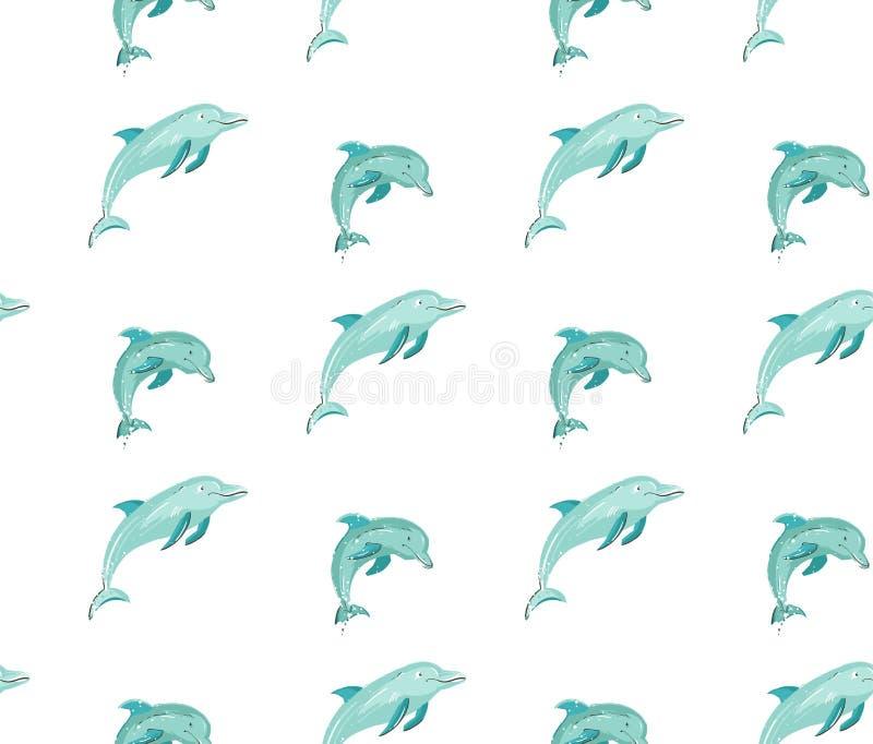 Hand dragen modell för tid för vektortecknad filmsommar sömlös med banhoppningdelfin i blåttfärger som isoleras på vit bakgrund stock illustrationer