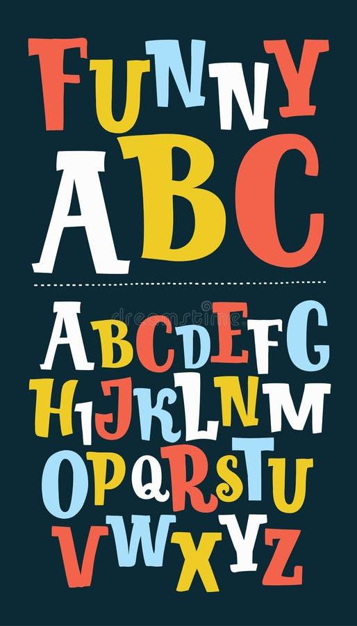 Hand dragen moderiktig stilsort Beställnings- handskrivet alfabet Original- bokstäver Dragen stilsort för tappning retro hand royaltyfri illustrationer