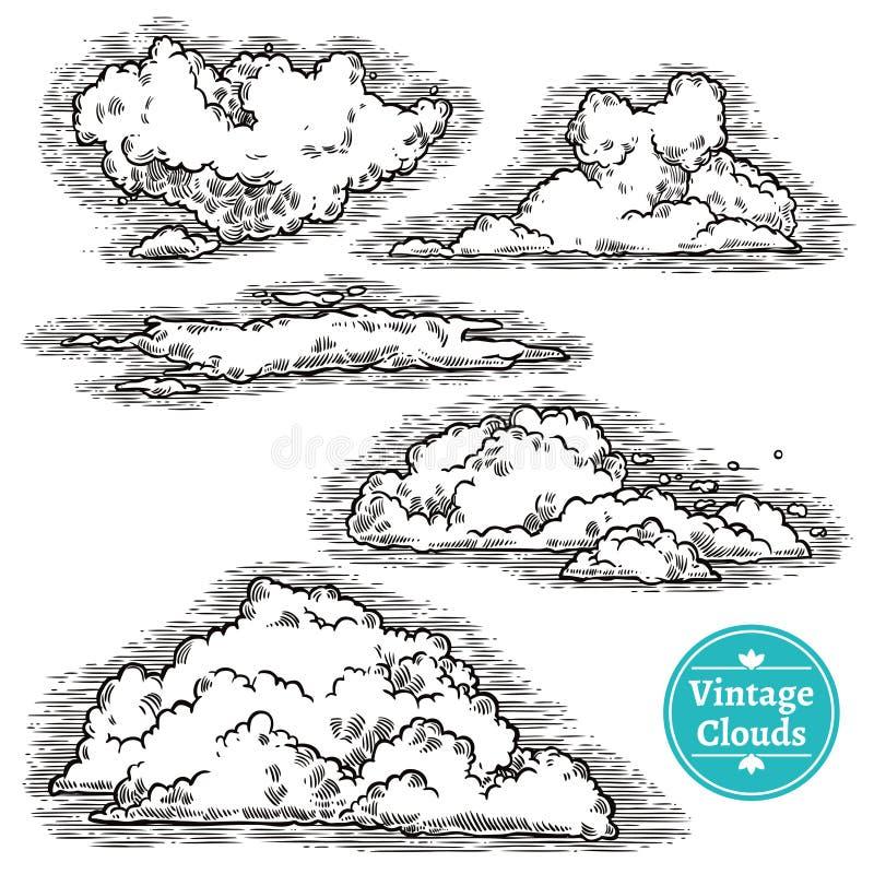 Hand dragen molnuppsättning stock illustrationer