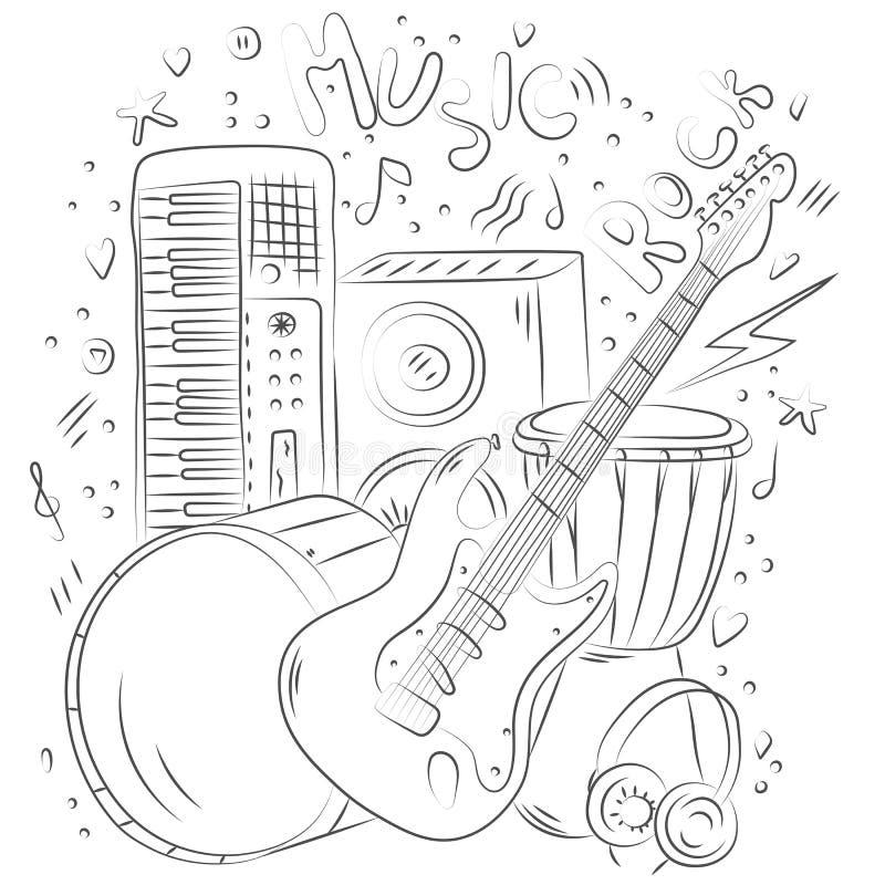 Hand dragen musikbakgrund Klottermusikalen instrumenterar band för musikaliska gammala registreringsapparater för samlingsutrustn arkivfoton