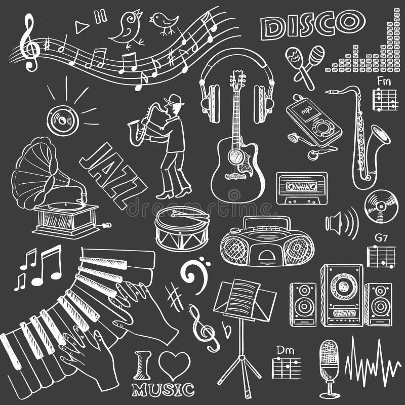 Hand dragen musikuppsättning royaltyfri illustrationer