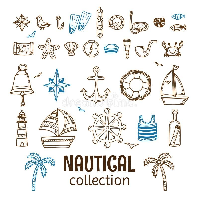 Hand dragen nautisk samling Marin- symbolsuppsättning Hav och hav royaltyfri illustrationer