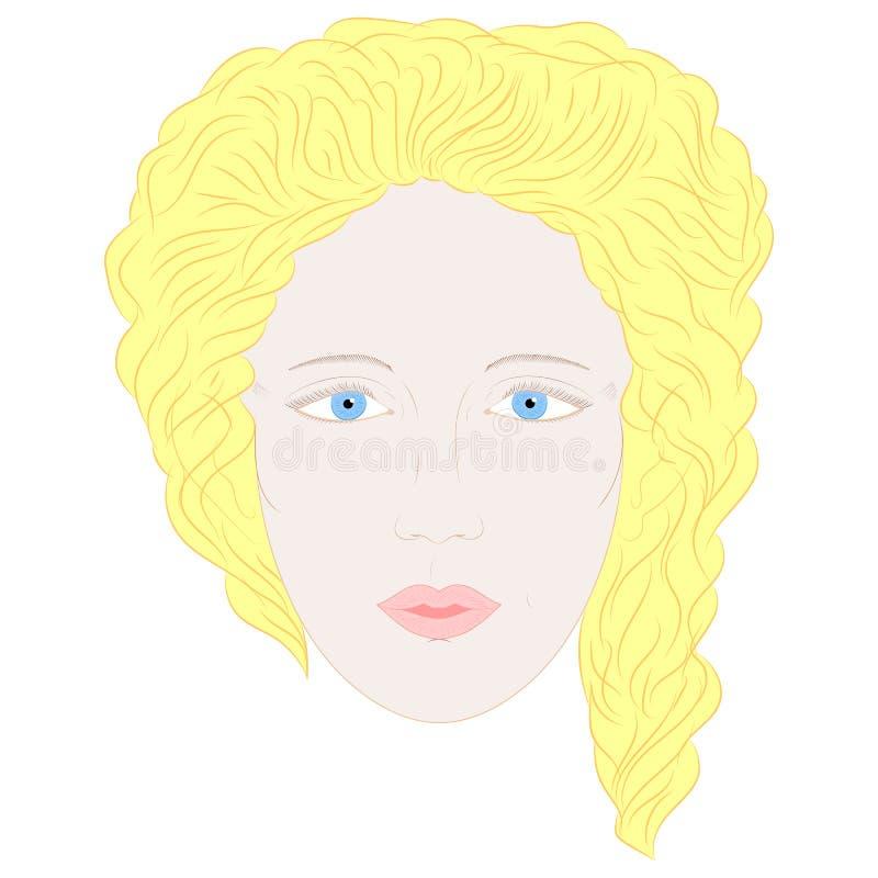 Hand dragen oavkortad framsida för kvinna med blåa ögon och blonda lockiga hår royaltyfri illustrationer