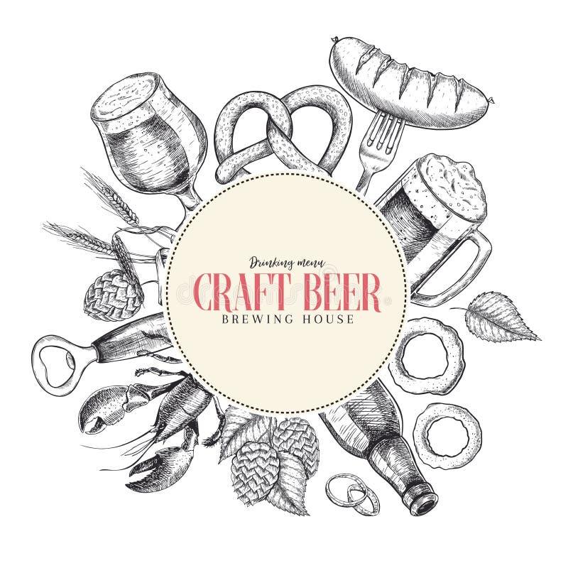 Hand dragen Oktoberfest baraffisch Öl och mellanmål Vektorexponeringsglas, flaska, öppnare, fisk, kringla, korn, flygtur, mat stå vektor illustrationer