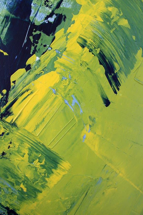 Hand dragen olje- målning Abstrakt grön konstbakgrund Oljemålning på kanfas Färgtextur Fragment av konstverk penseldrag royaltyfri fotografi