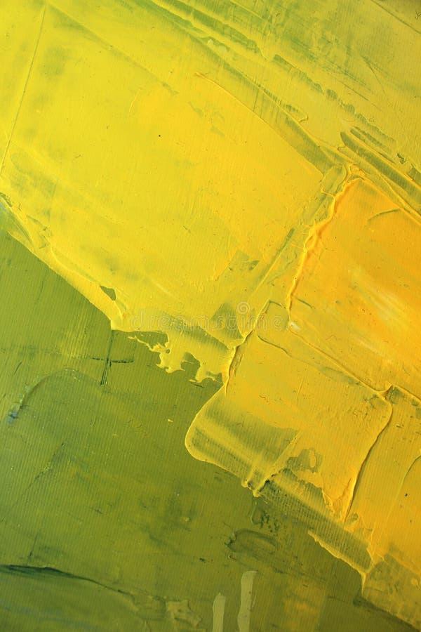Hand dragen olje- målning Abstrakt gul konstbakgrund Oljemålning på kanfas Färgtextur Fragment av konstverk penseldrag fotografering för bildbyråer