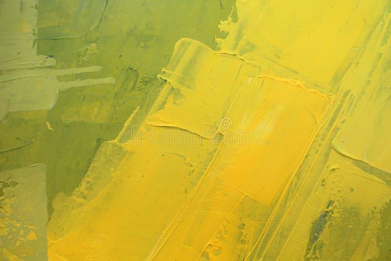 Hand dragen olje- målning Abstrakt gul konstbakgrund Oljemålning på kanfas Färgtextur Fragment av konstverk penseldrag arkivbilder