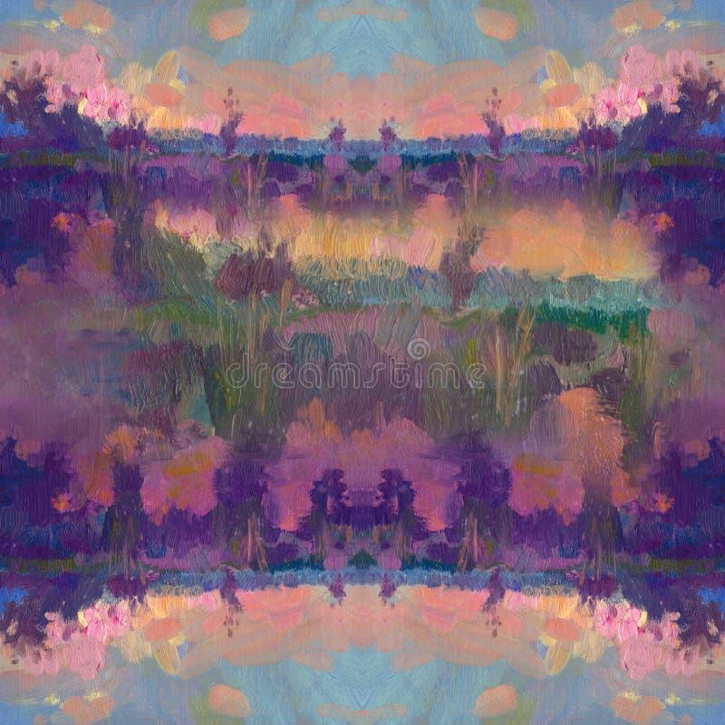 Hand dragen olje- målning abstrakt konstbakgrund Oljemålning på kanfas Färgtextur Fragment av konstverk Fläckar av stock illustrationer
