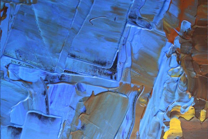 Hand dragen olje- målning abstrakt konstbakgrund Oljemålning på kanfas Färgtextur Fragment av konstverk Fläckar av målarfärg Brus fotografering för bildbyråer