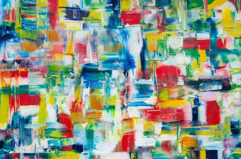 Hand dragen olje- målning abstrakt konstbakgrund Oljemålning på kanfas Färgtextur Fragment av konstverk royaltyfri illustrationer