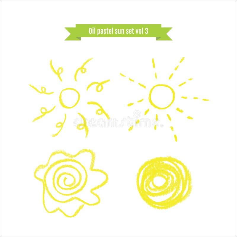 Hand dragen olje- pastellfärgad soluppsättning vektor illustrationer