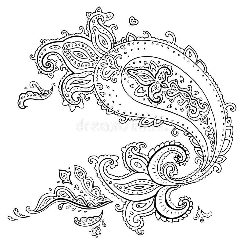 Hand dragen Paisley prydnad. stock illustrationer