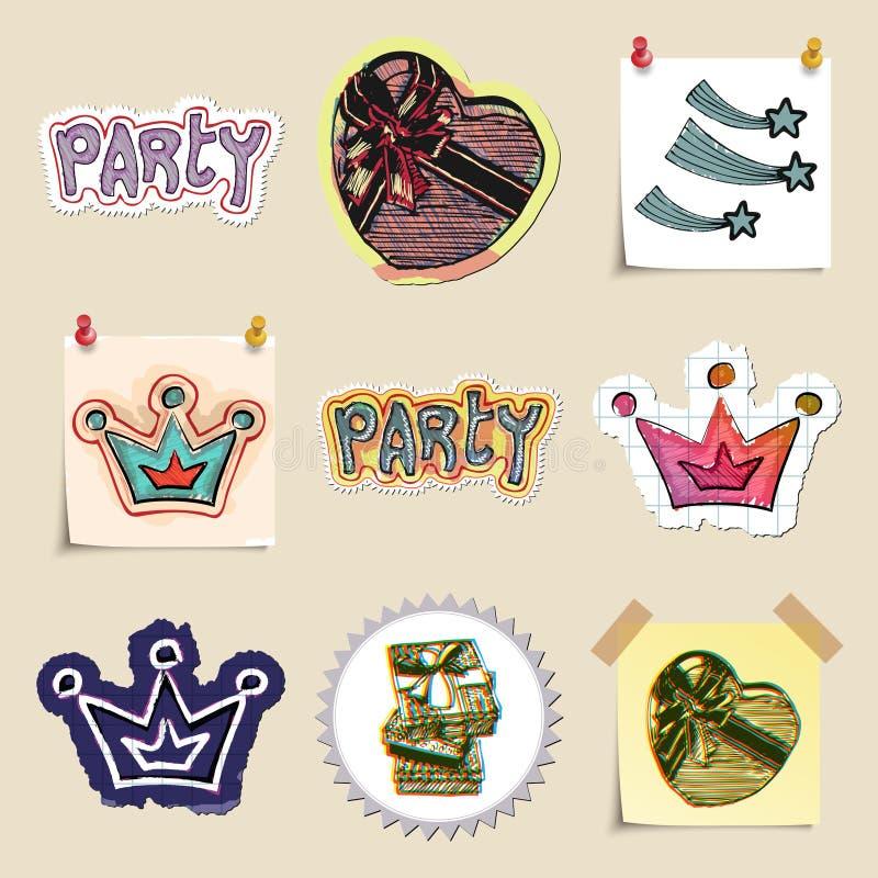 Hand dragen parti- och berömemblemuppsättning stock illustrationer