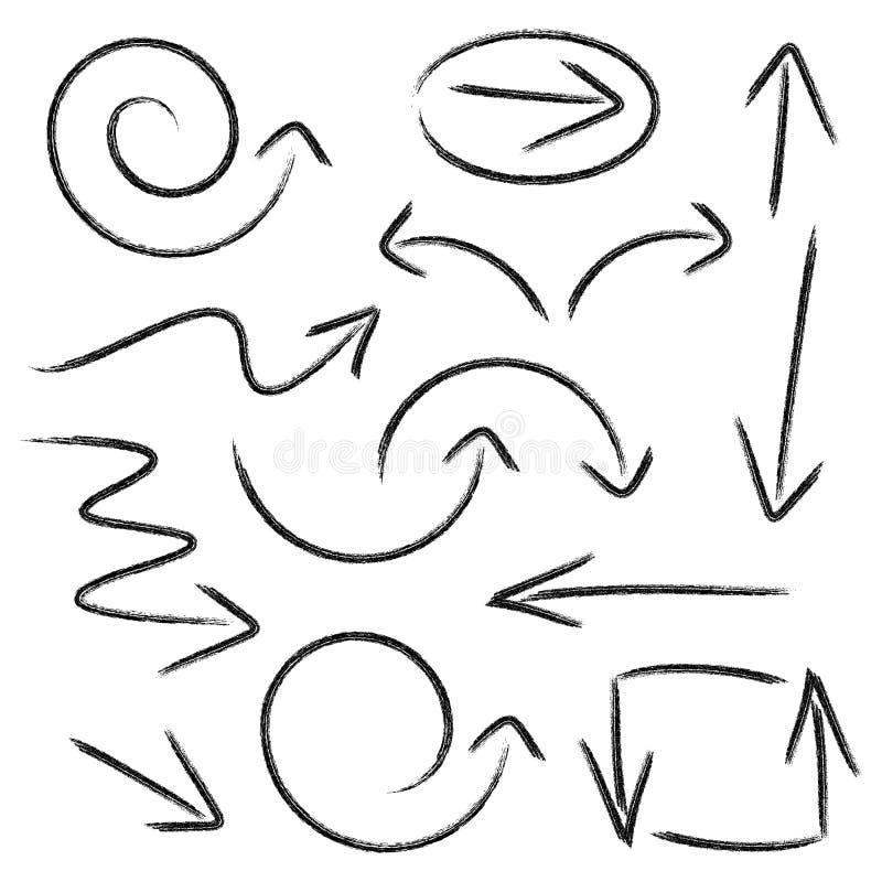 Hand dragen pilsamling vektor illustrationer