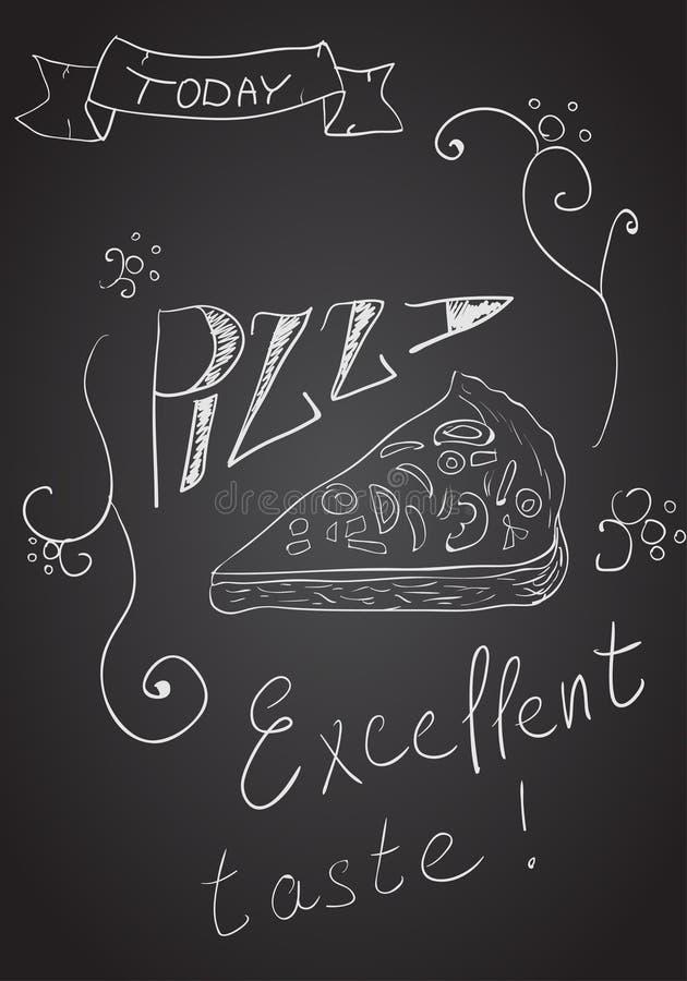 Hand-dragen pizza på den svart tavlan royaltyfri illustrationer