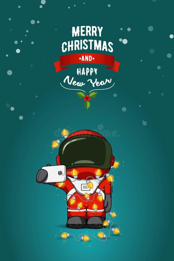 Hand dragen plan illustration Tecknad filmastronaut i spacesuit med girlanden av julljus greeting lyckligt nytt år för 2007 kort stock illustrationer