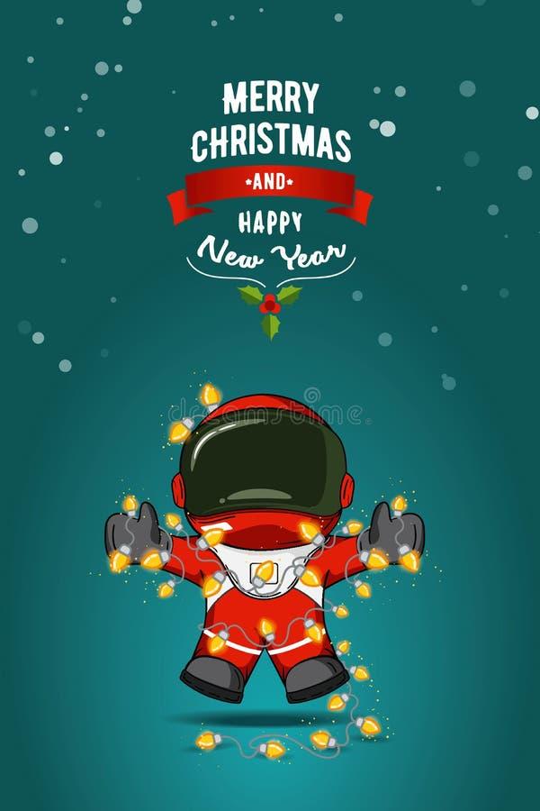 Hand dragen plan vektorillustration Tecknad filmastronaut i spacesuit med girlanden av julljus greeting lyckligt nytt år för 2007 royaltyfri illustrationer