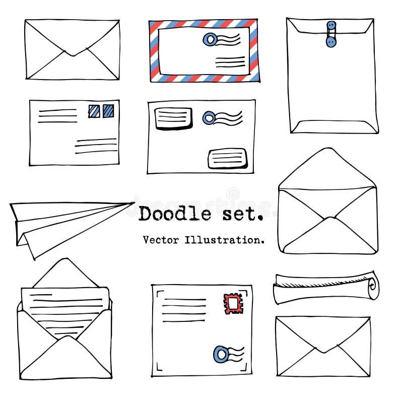 Hand dragen post, stolpe, bokstav, kuvert, plan tecknad filmuppsättning för papper också vektor för coreldrawillustration Dekorat stock illustrationer