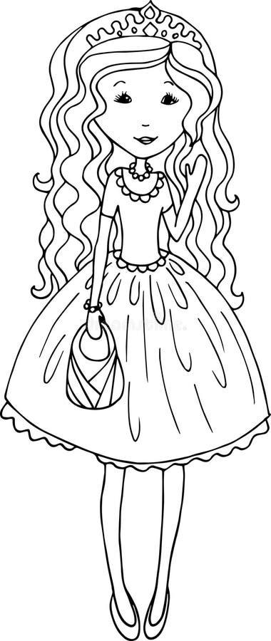 Hand dragen prinsessaillustration stock illustrationer