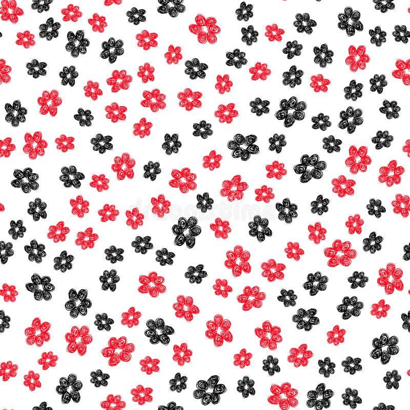 Hand dragen röd svart vit för blommamodell royaltyfri illustrationer