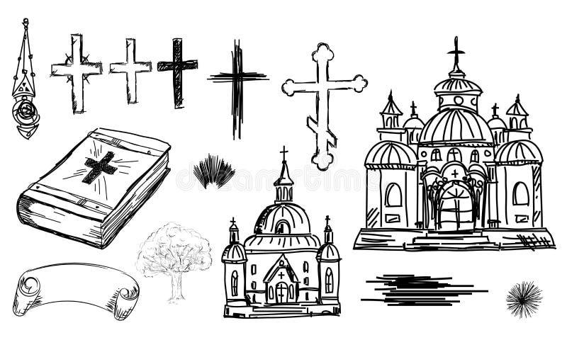 Hand dragen religionuppsättning i vektor Kyrka, kors och bibel i sk stock illustrationer
