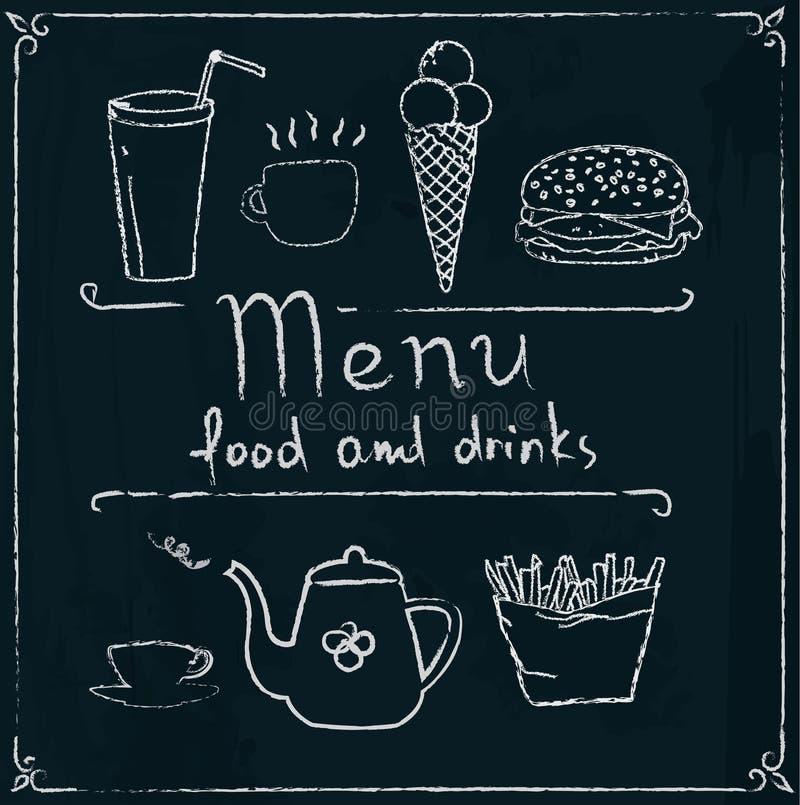 Hand dragen restaurangmenydesign på svart tavla royaltyfri illustrationer