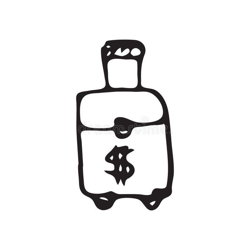 Hand dragen resväska på hjulklotter Skissa dollarsymbolen Anständigheter vektor illustrationer