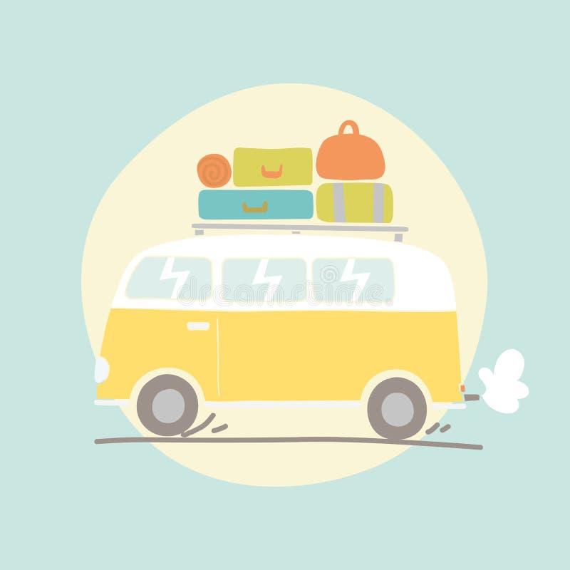 Hand dragen retro skåpbil med bagage stock illustrationer