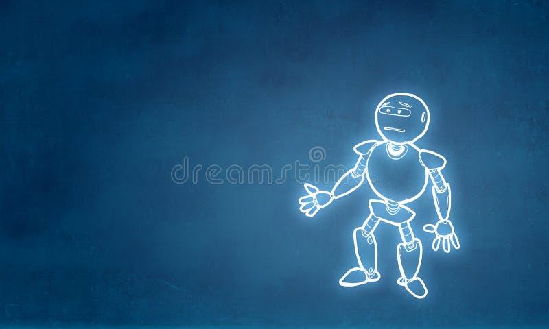 Hand dragen robot vektor illustrationer
