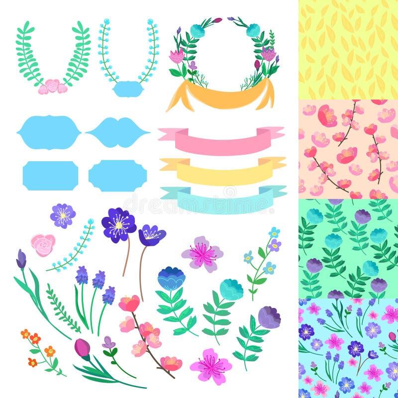 Hand-dragen romantisk dekoruppsättning för vektor Dekorbeståndsdelar och 4 sömlösa modeller Göra perfekt för valentins dagkort vektor illustrationer