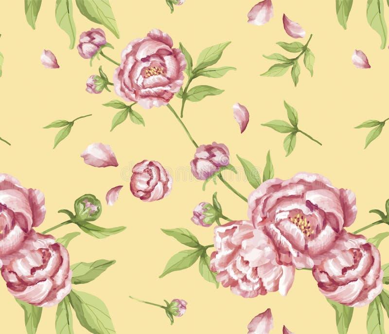 Hand dragen rosa pionmodell stock illustrationer