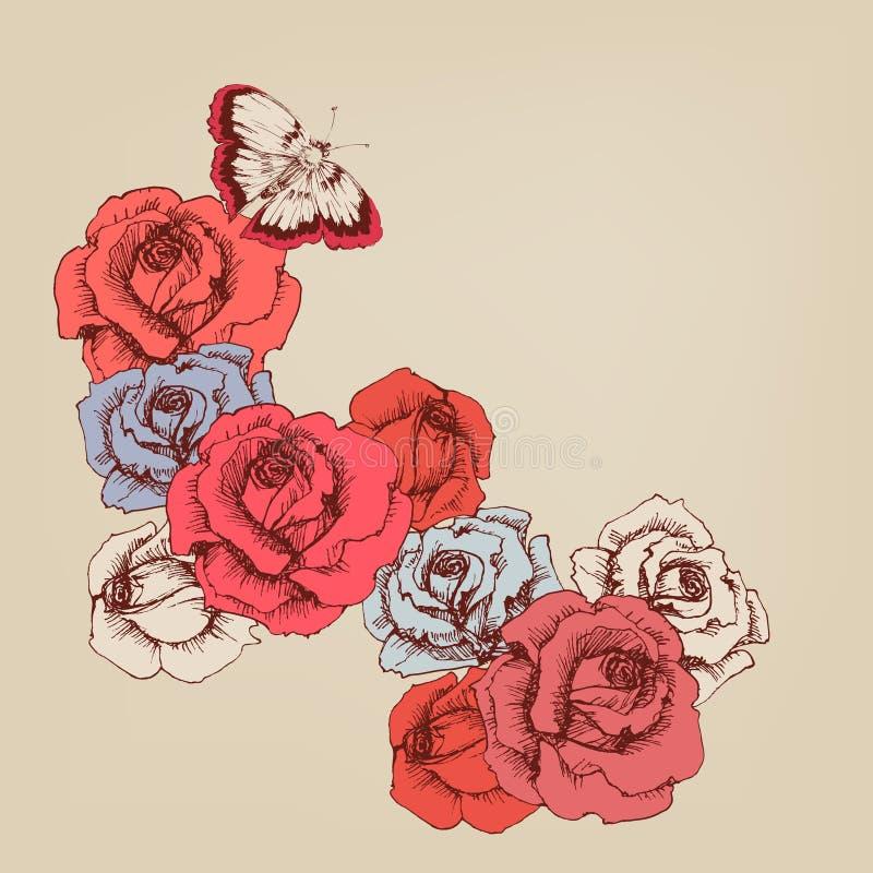Hand dragen rosa stambakgrund royaltyfri illustrationer