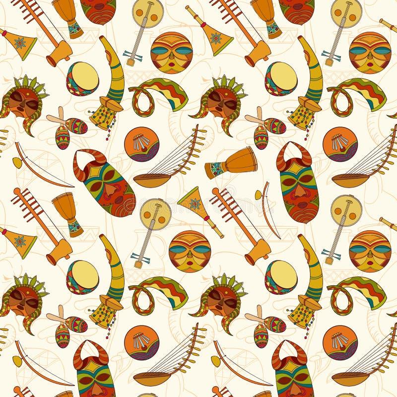 Hand-dragen sömlös afrikansk musikmodell stock illustrationer