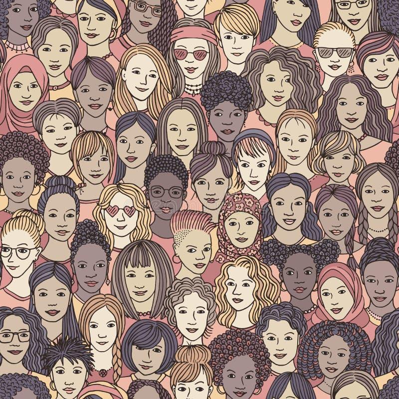 Hand dragen sömlös modell av olika kvinnor stock illustrationer