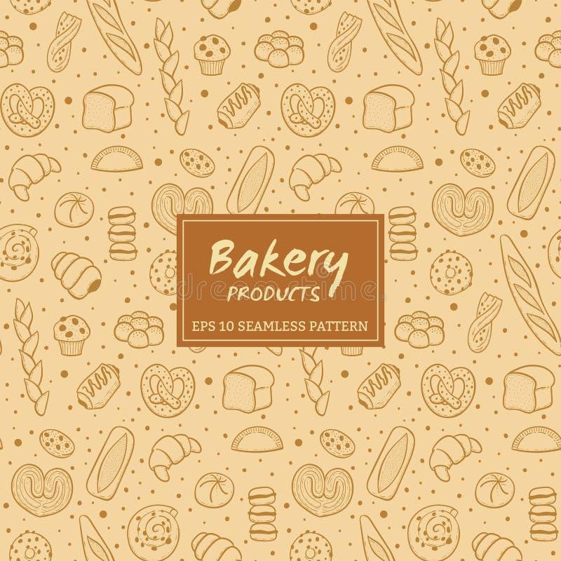 Hand dragen sömlös modell för bageriprodukter vektor illustrationer